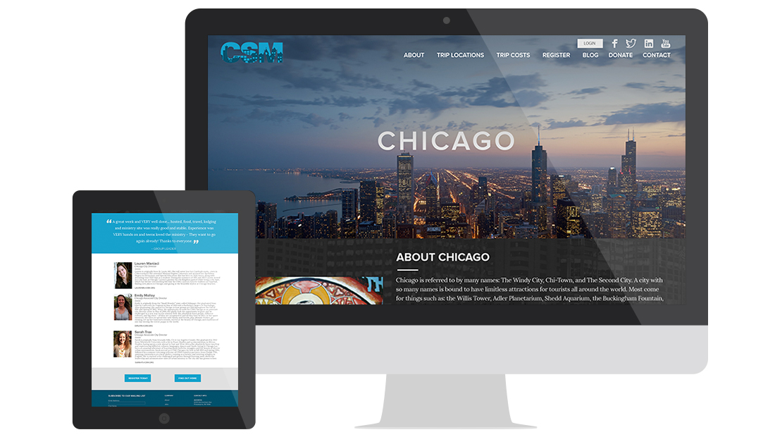 City Service Mission Website Design Trip Locations Chicago