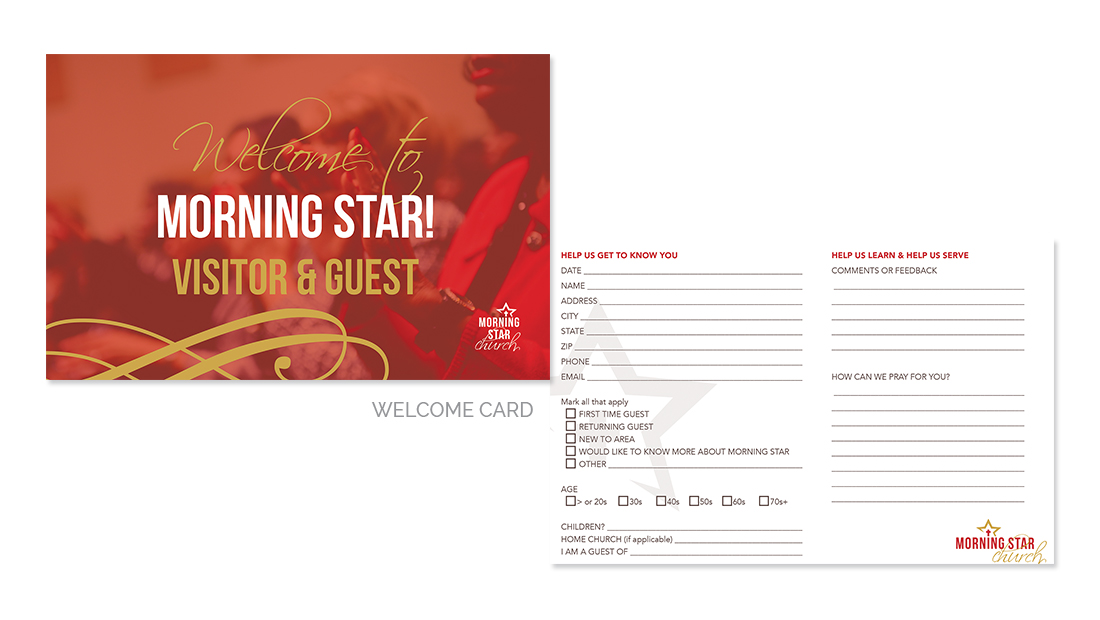 Morning Star Welcome Card